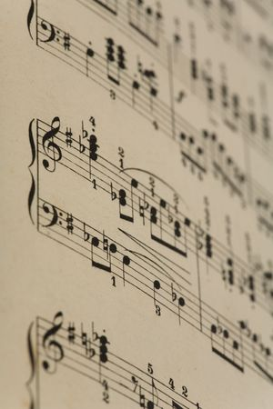 Close-up van oude muziek notities Stockfoto