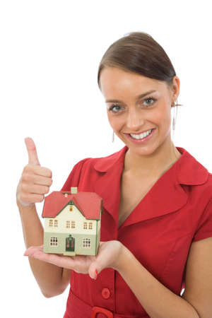Business woman advertises real estate photo