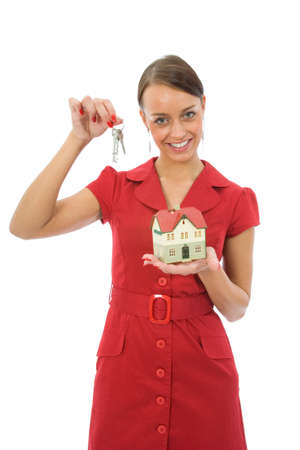 Business woman advertises real estate Stock Photo