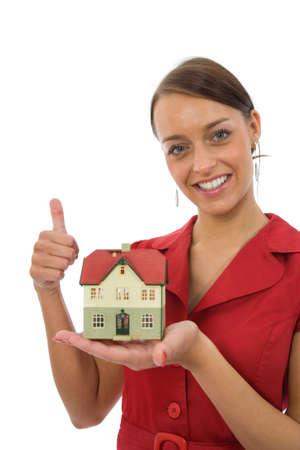 Business vrouw adverteert vastgoed Stockfoto