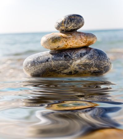 Stack of pebbles on sea background Stock Photo - 5040551