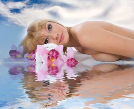 Attractive woman getting spa treatment on sky Stock Photo - 5071952