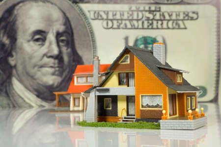 Real Estate concept on big dollar background photo