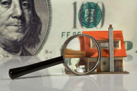 lien: Real Estate concept on big dollar background
