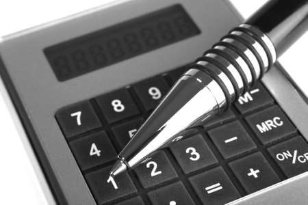 allocate: calculator and pen on a white background