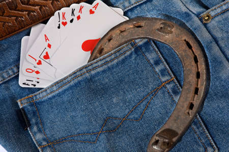 cards in back pocket jeans photo