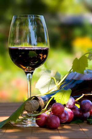 bodegas: De vidrio y una botella de vino tinto con la hoja verde