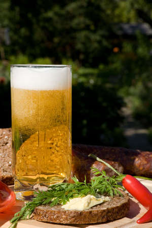 spume: Glass beer with spume and with snack