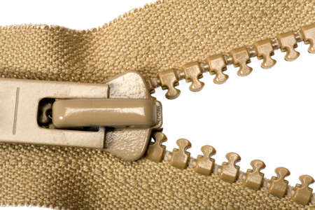 unzipped: Unzipped brown zipper isolated on white background.
