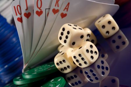 playing card  chips, and dice photo