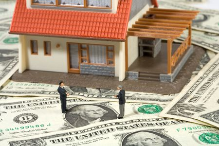 Real Estate concept on dollar background   photo