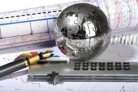 paradigm: clock, puzzle, globe, diagram, finance, economics, business, chart, model, graph, diagram, concept, idea, table, schedule, list, paradigm, calculator, pen
