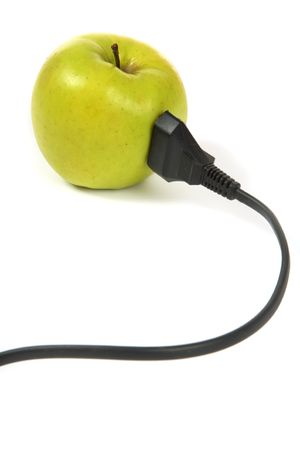 electrical apple with electrical cord over white background Stock Photo - 6750441