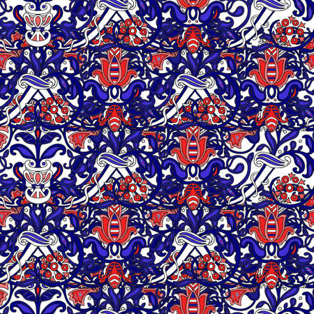 Seamless turkish colorful pattern. Vintage multicolor pattern in Eastern style. Endless floral pattern can be used for ceramic tile, wallpaper, linoleum, textile, web page background. Vector Stock fotó - 155300505