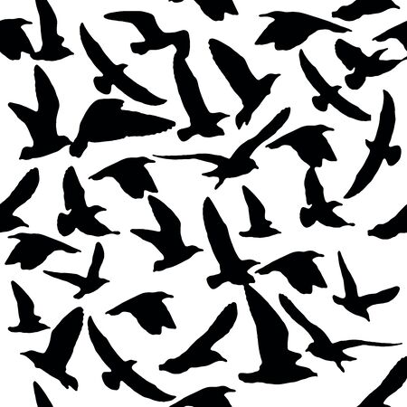 Pattern of bird elements. Figure silhouette ravens black and white. Suitable for printing on textiles, dresses, leggings, t-shirts.