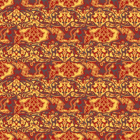 Floral seamless pattern in paisley style. Ornamental Indian backdrop. Design for 3 colors.Antique art drawing. Seamless persian pattern. Boho repeat texture. Tribal indian ethnic seamless design. Festive colorful textile