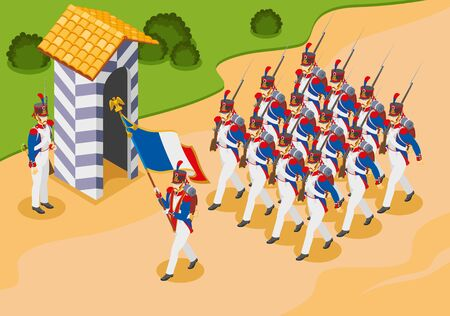 Napoleons grenadiers isometric composition Иллюстрация