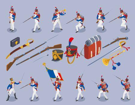 Set of  Napoleons grenadiers isometric icons Иллюстрация