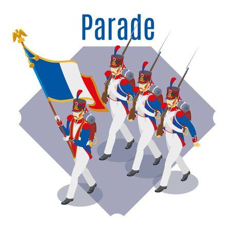 Napoleons grenadiers isometric background Иллюстрация