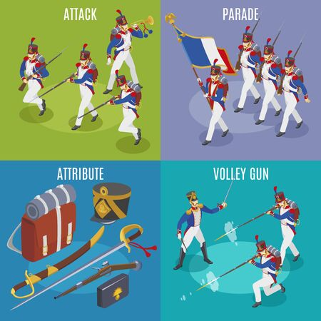 Napoleon's grenadiers isometric icons 2x2