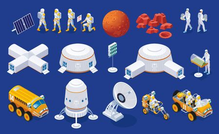 Set of Mars colonization Ilustrace