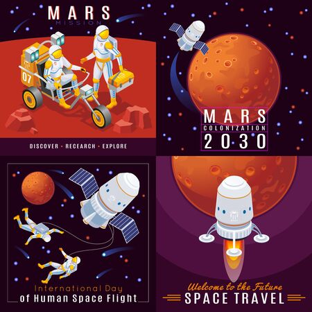 Set of Mars colonization 2x2 isometric icons on isolated background