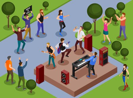 Rock musicians illustration isometric icons on isolated background Illusztráció