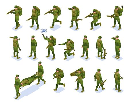 Modern Army Soldiers Set isometric icons on isolated background