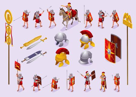 Roman Legionaries Ancient Rome Set isometric icons on isolated background
