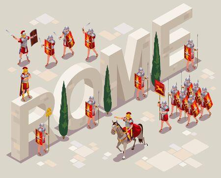 Roman Legionaries Ancient Rome illustration isometric icons on isolated background