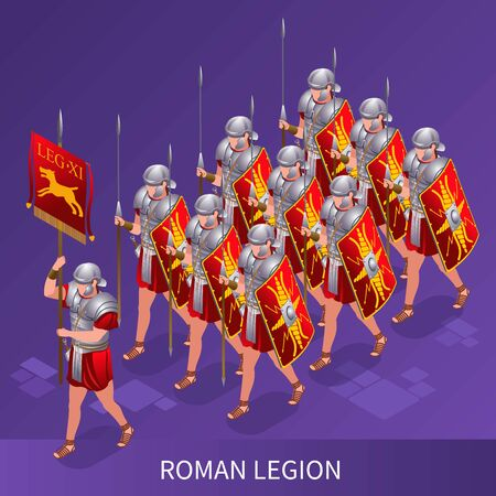 Roman Legion Ancient Rome illustration isometric icons on isolated background Illustration