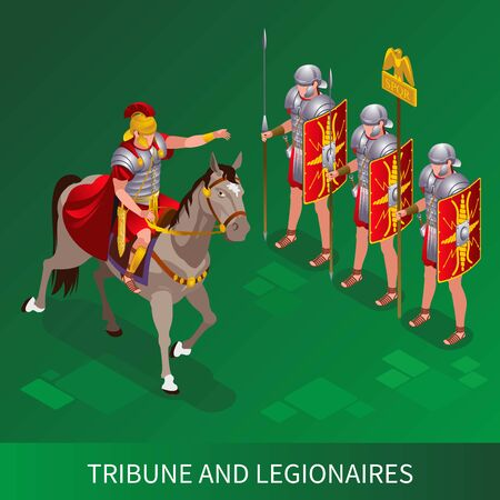 Roman Tribune and Legionnaires Ancient Rome illustration isometric icons on isolated background