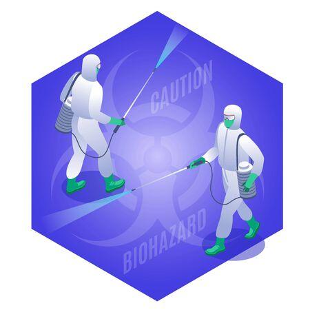 Coronavirus Disinfection illustration isometric icons on isolated background