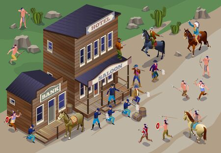 Indians attack town wild west american history illustration isometric icons on isolated background
