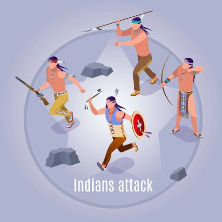 Indians attack Wild West american history Illustration isometric icons on isolated background