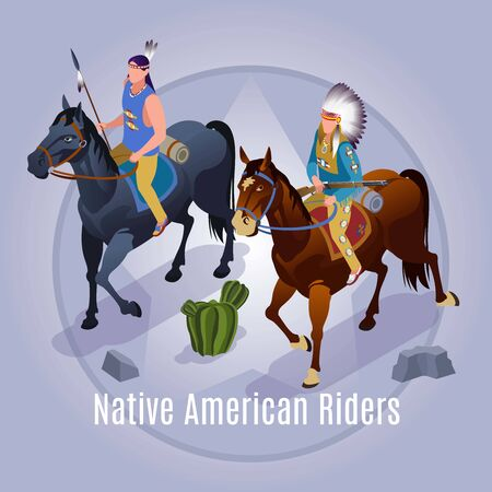 Native American Riders Wild West american history Illustration isometric icons on isolated background