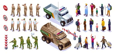 Border guards set collection guards with special vehicles and people crossing the border warning signs isometric icons on isolated background