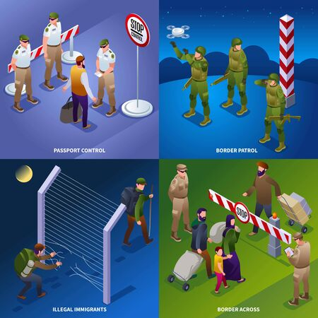 Illegal migrants Border patrol Border service 2x2 illustration isometric icons on isolated background