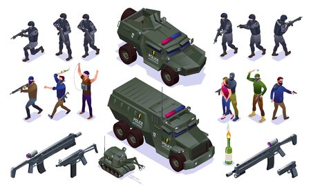 Antiterror Special Police Forces and Terrorists Set isometric icons on isolated background