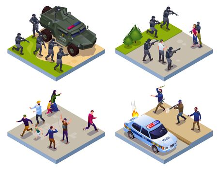 Antiterror Special Police Forces and Terrorists 2x2 illustration isometric icons on isolated background