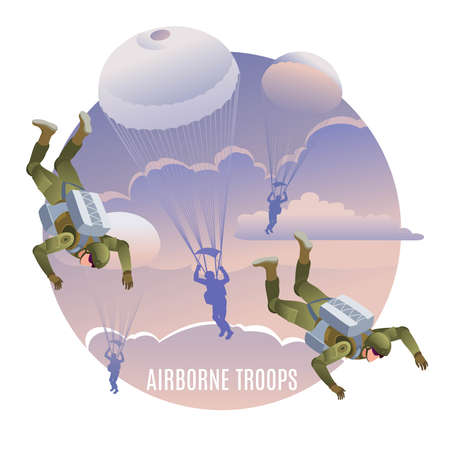 Airborne troops on mission. Background of the clouds sky at sunset. Illustration isometric icons on isolated background