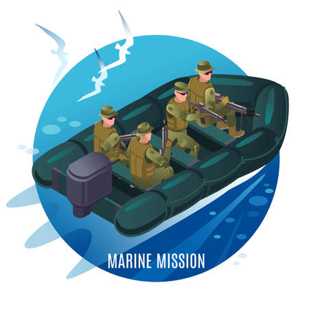 Navy seals on a mission. Military boat at sea and seagulls above it. Illustration isometric icons on isolated background