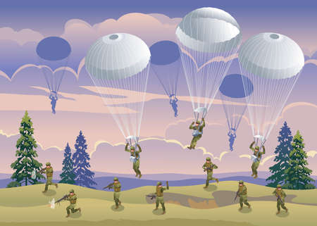 Airborne Special Forces attack off road at sunset, evening landscape and cloudy sky illustration isometric icons on isolated background