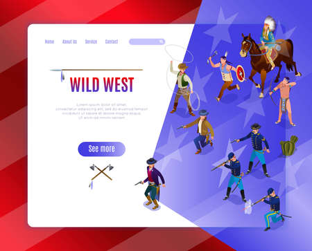 Wild West Landing Page of american history. Indians, Cowboys, Army isometric icons on isolated background Vectores