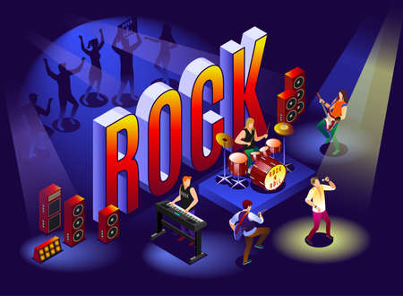 Rock concert and isometric word Rock. Rock musicians and fans illustration isometric icons on isolated background