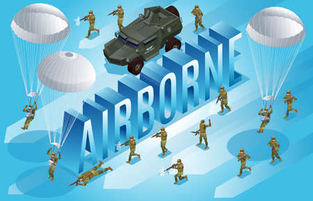 Special Forces of Modern Army and isometric word Airborne with army off-road vehicle and paratroopers isometric icons on isolated background