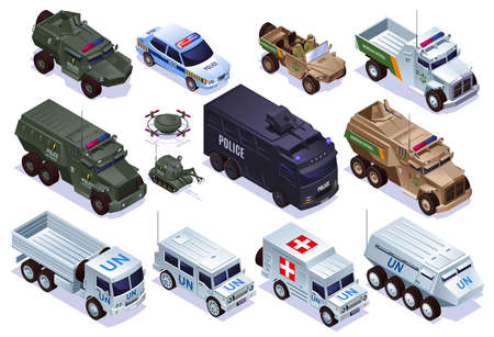 Special military transport of Police, Border Patrol and Peacekeepers Set collection, special equipment with isometric icons on isolated background