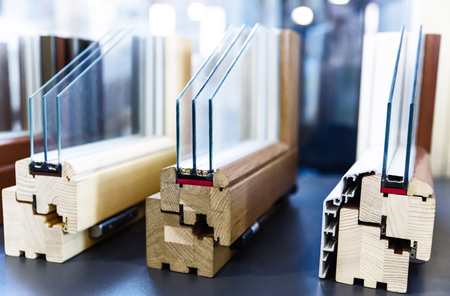 wooden window profiles 写真素材