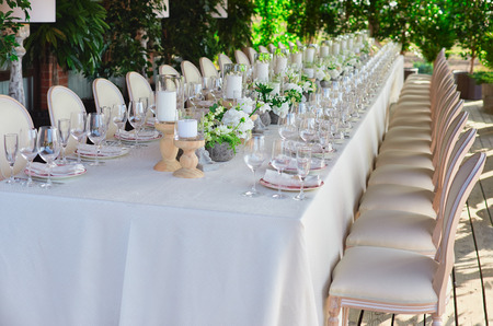Outdoor Wedding Celebration At A Restaurant Festive Table Setting - Catering table setting
