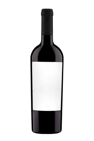 bottle with label of red wine isolated on white background.